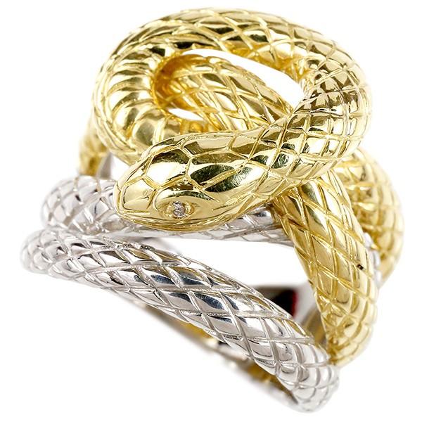 メンズ リング ダイヤモンド 蛇 プラチナ900 イエローゴールドk18 コンビ 幅広 指輪 18金 pt900 男性用 ピンキーリング スネーク ヘビ 人気 送料無料