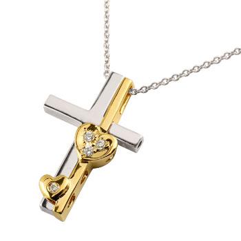 クロス ハート ネックレス ダイヤモンド ペンダント ホワイトゴールドk18 イエローゴールドk18 コンビ 十字架 ダイヤ セパレート レディース 18金 ギフト 贈り物 プレゼント 記念日 ファッション お返し
