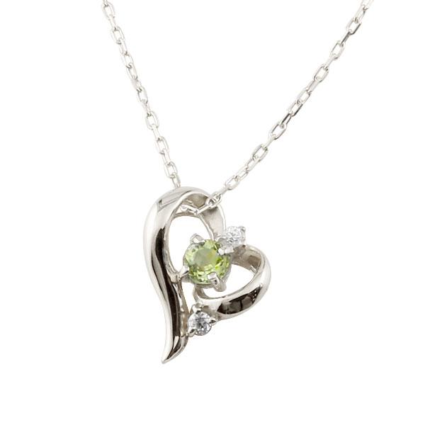 ダイヤモンド オープンハート ネックレス ペリドット プラチナ pt900 8月誕生石 チェーン 人気 ダイヤ プチネックレス 贈り物 誕生日プレゼント ギフト ファッション