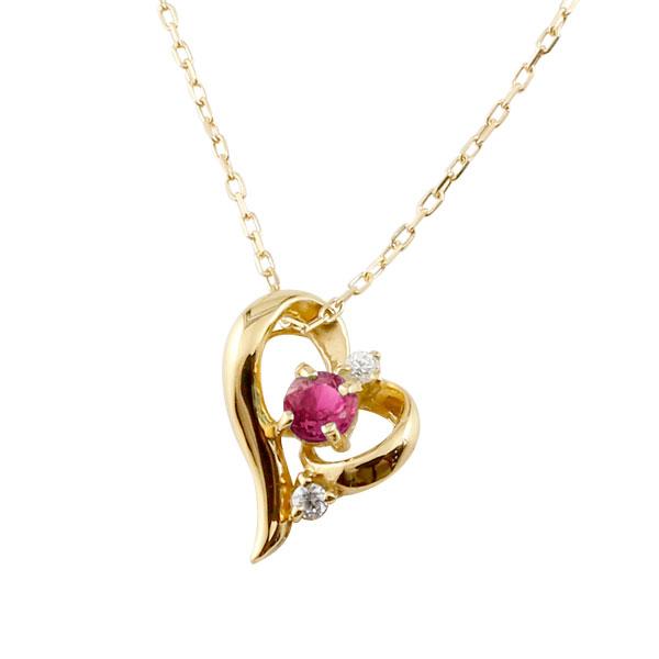 ダイヤモンド オープンハート ネックレス ルビー イエローゴールドk10 7月誕生石 チェーン k10 10金 人気 ダイヤ プチネックレス 贈り物 誕生日プレゼント ギフト ファッション