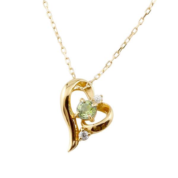 ダイヤモンド オープンハート ネックレス ペリドット イエローゴールドk18 8月誕生石 チェーン k18 18金 人気 ダイヤ プチネックレス 贈り物 誕生日プレゼント ギフト ファッション