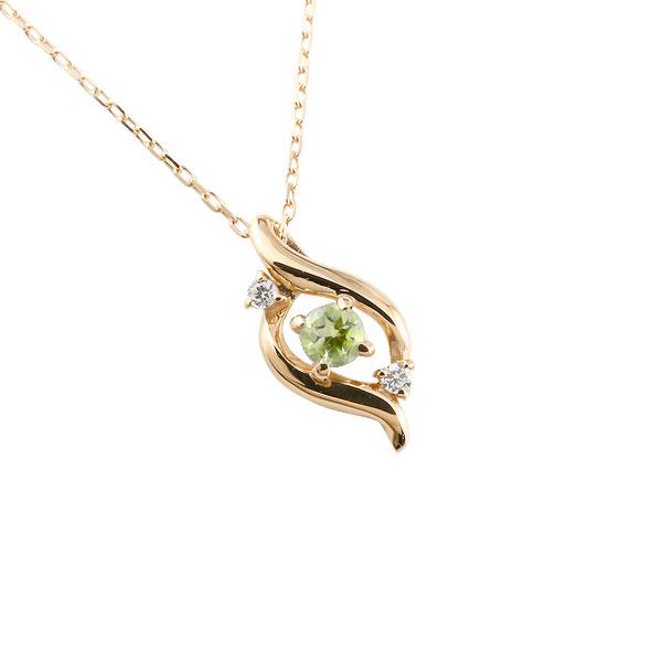 ダイヤモンド ドロップ ネックレス ペリドット ピンクゴールドk10 8月誕生石 チェーン k10 10金 人気 ダイヤ プチネックレス 贈り物 誕生日プレゼント ギフト ファッション