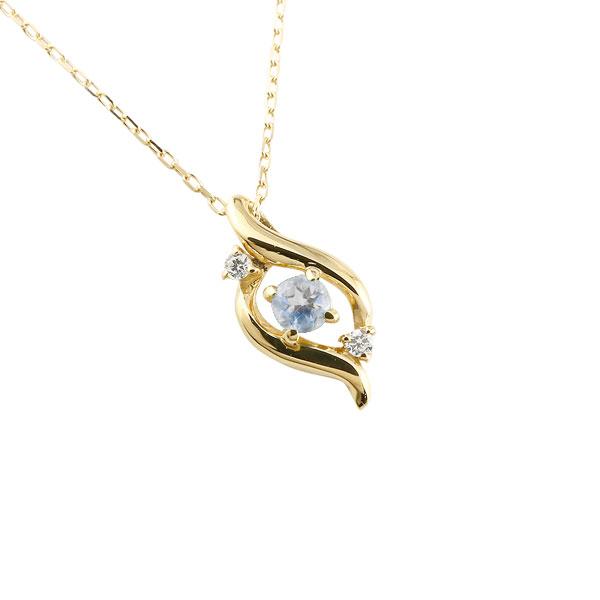 ダイヤモンド ドロップ ネックレス ブルームーンストーン イエローゴールドk10 6月誕生石 チェーン k10 10金 人気 ダイヤ プチネックレス 贈り物 誕生日プレゼント ギフト ファッション