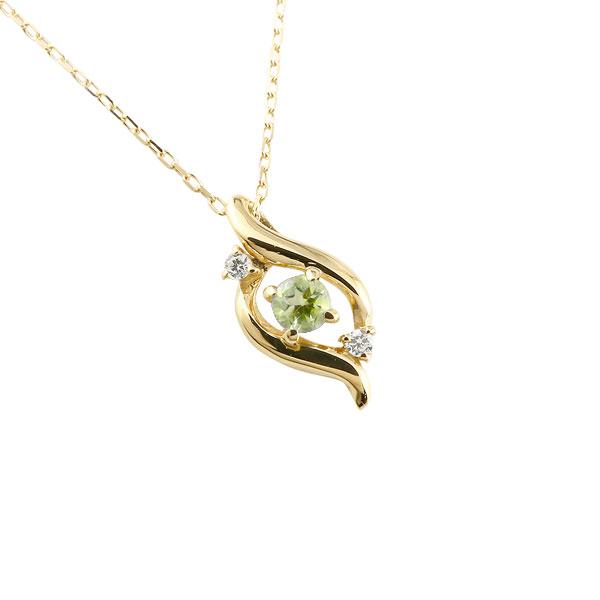 ダイヤモンド ドロップ ネックレス ペリドット イエローゴールドk18 8月誕生石 チェーン k18 18金 人気 ダイヤ プチネックレス 贈り物 誕生日プレゼント ギフト ファッション