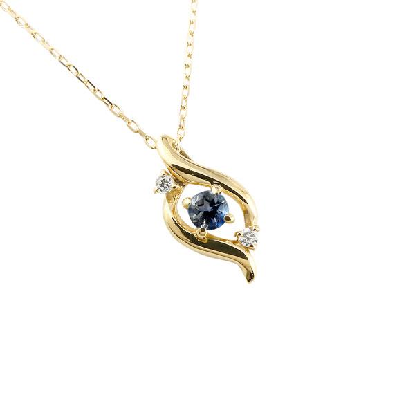 ダイヤモンド ドロップ ネックレス サファイア イエローゴールドk18 9月誕生石 チェーン k18 18金 人気 ダイヤ プチネックレス 贈り物 誕生日プレゼント ギフト ファッション