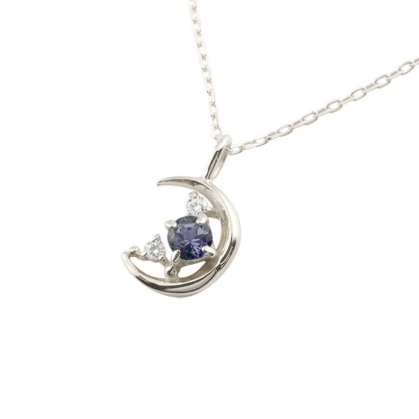 ダイヤモンド 三日月 ネックレス アイオライト ホワイトゴールドk18 チェーン k18 18金 人気 ダイヤ プチネックレス 贈り物 誕生日プレゼント ギフト ファッション