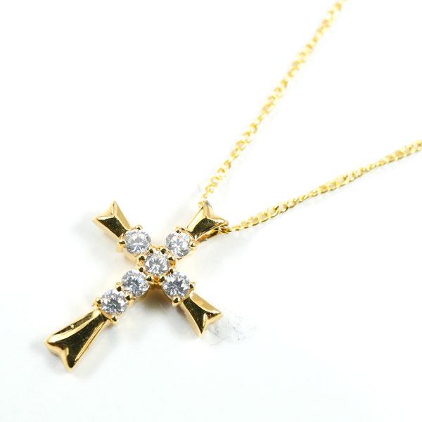 メンズネックレス クロス ダイヤモンド ペンダント 十字架 ダイヤ イエローゴールドk18 18金 男性用 ギフト 贈り物 プレゼント 記念日 エンゲージリングのお返し 送料無料