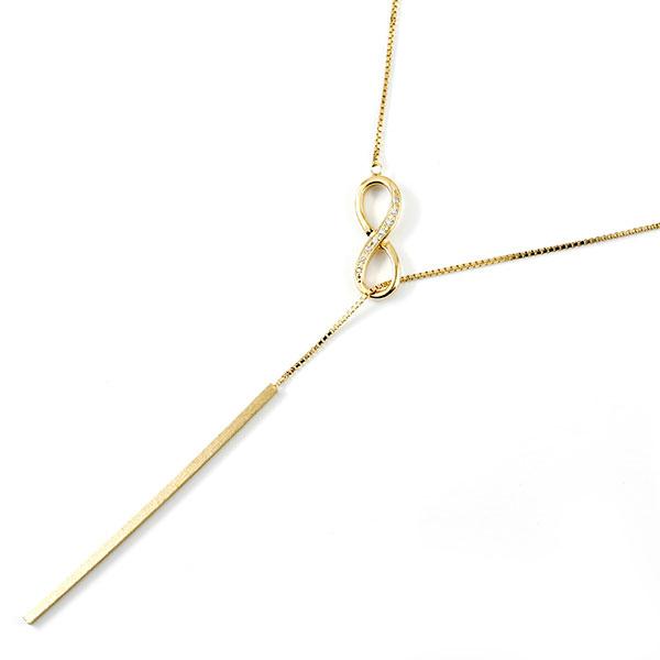 ネックレス ラリエット ダイヤモンド ダイヤインフィニティ イエローゴールドk10 チェーン Y字 ロングネックレスバー 無限大 10金 送料無料 の トップ