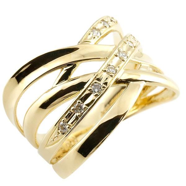指輪 ダイヤモンド リング 透かし イエローゴールドk18 ピンキーリング エンゲージリング 18金 指輪 指輪 ダイヤ 送料無料