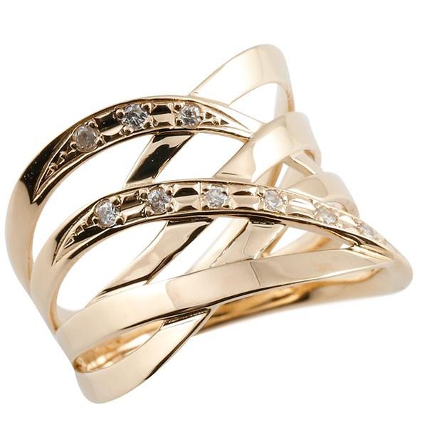 指輪 ダイヤモンド リング 透かし ピンクゴールドk18 ピンキーリング エンゲージリング 18金 指輪 指輪 ダイヤ 送料無料