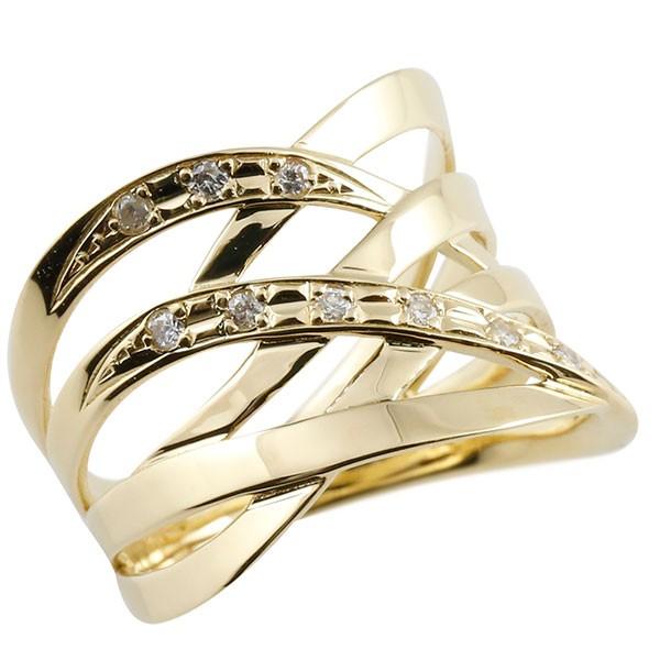 エンゲージリング ダイヤモンド リング 透かし イエローゴールドk18 ピンキーリング 18金 指輪 指輪 ダイヤ 送料無料