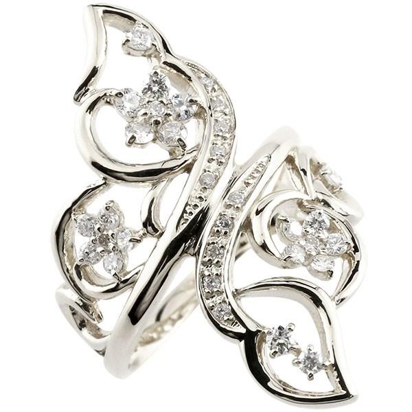 ピンキーリング フラワー プラチナ ダイヤモンド リング 透かし 指輪 エンゲージリング pt900 ダイヤ 送料無料