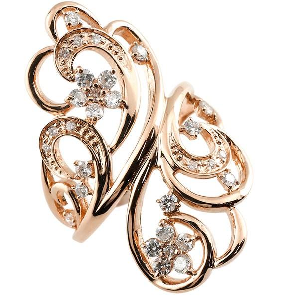 指輪 フラワー ダイヤモンド リング 透かし ピンクゴールドk18 ピンキーリング エンゲージリング 18金 指輪 指輪 ダイヤ 送料無料