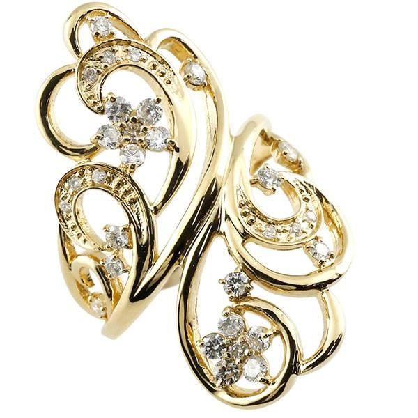 指輪 フラワー ダイヤモンド リング 透かし イエローゴールドk18 ピンキーリング エンゲージリング 18金 指輪 指輪 ダイヤ 送料無料