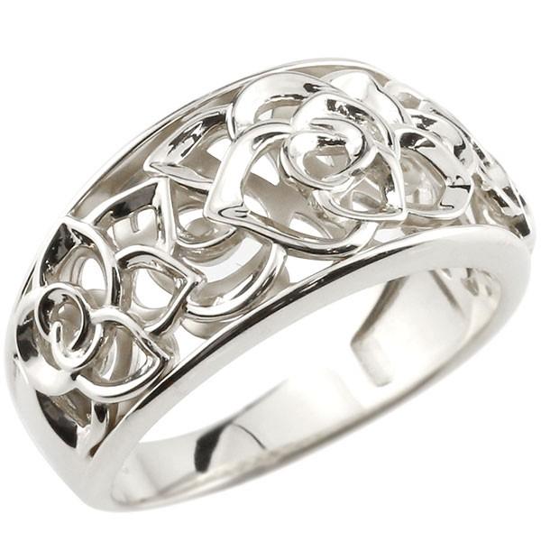 婚約指輪 エンゲージリング ローズ バラ プラチナ リング 透かし ピンキーリング 指輪 pt900 指輪 送料無料