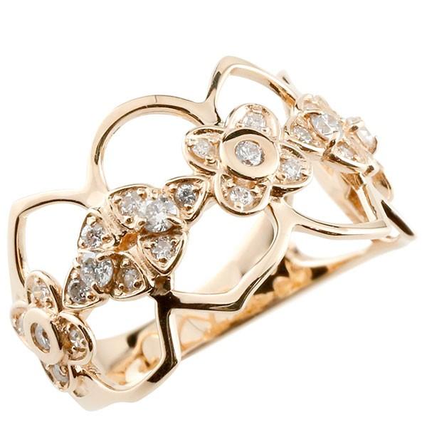 エンゲージリング フラワー ダイヤモンド リング 透かし ピンクゴールドk18 ピンキーリング 18金 指輪 指輪 ダイヤ 送料無料
