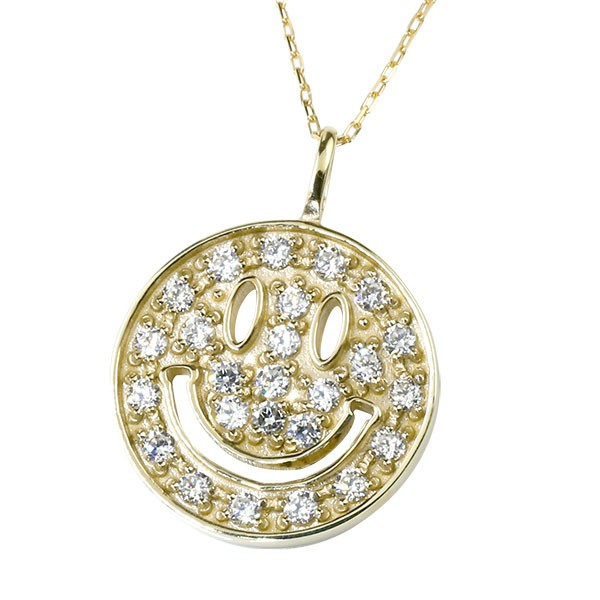 ダイヤモンド ネックレス イエローゴールドK18 ダイヤ ペンダント スマイル ニコちゃん 18金 レディース チェーン 人気 送料無料