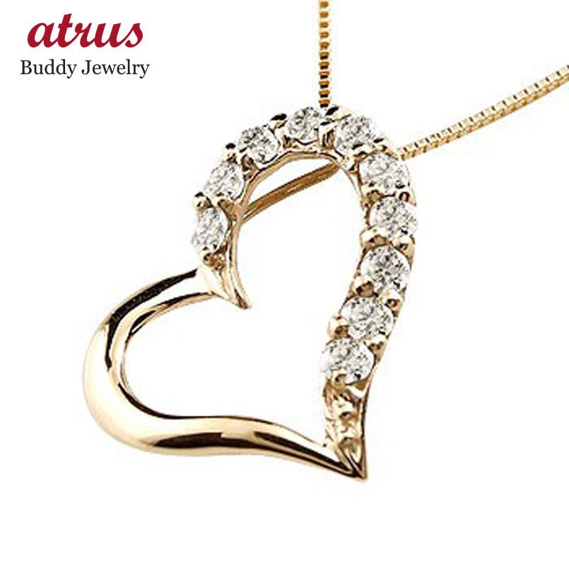 ダイヤモンド イエローゴールドk10ネックレス ダイヤモンド ペンダント チェーン 人気 ハート 送料無料