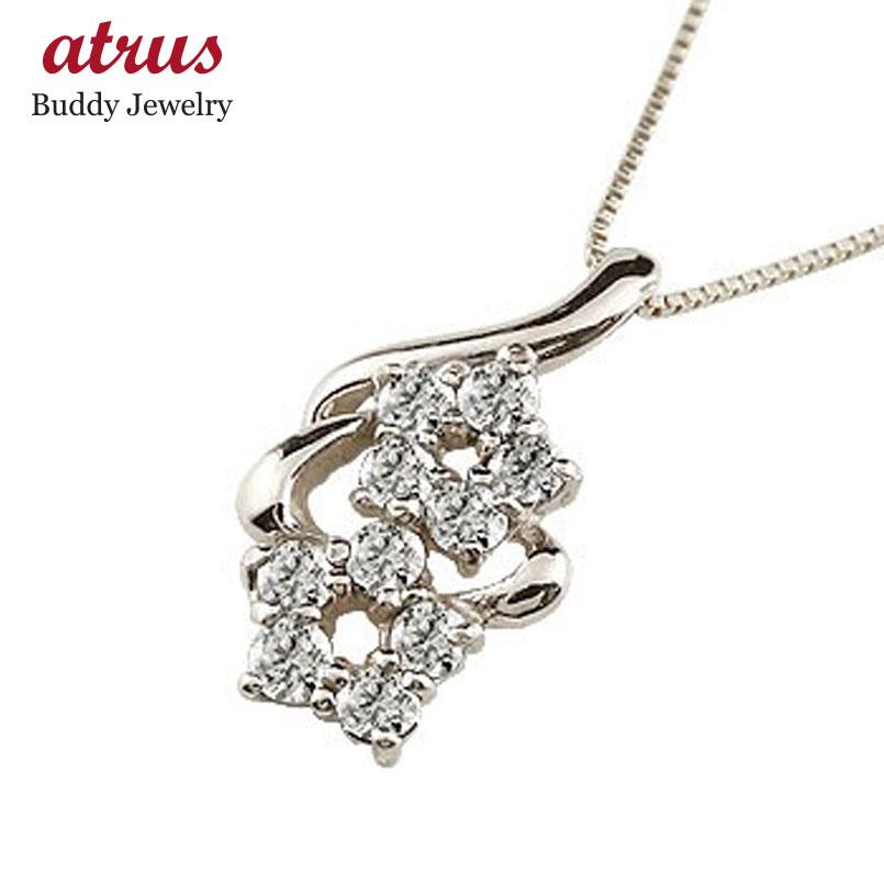 ダイヤモンド ホワイトゴールドk10 ネックレス ダイヤモンド ペンダント チェーン 人気 花 送料無料