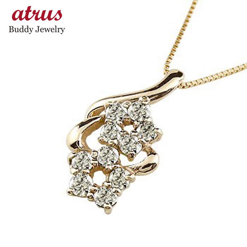 ダイヤモンド ピンクゴールドk18ネックレス トップ ダイヤモンド ペンダント チェーン 人気 花 送料無料