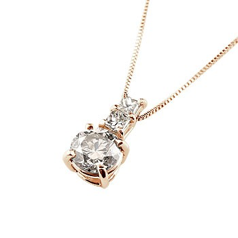 ネックレス ダイヤモンド ペンダント ピンクゴールドk18 シンプル レディース チェーン 人気 k18 18金 送料無料