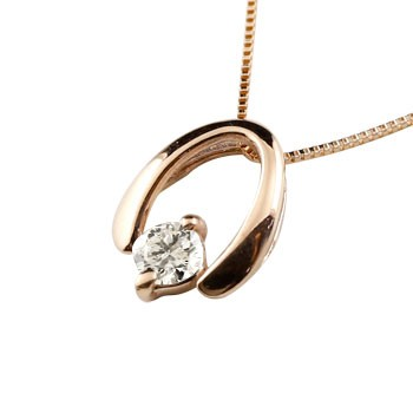 馬蹄 ネックレス トップ ダイヤモンド ホースシュー ペンダント ピンクゴールドk18 シンプル レディース チェーン 人気 蹄鉄 k18 18金 バテイ 送料無料