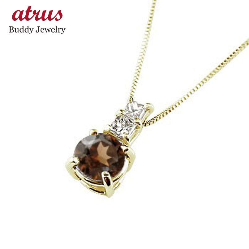 ネックレス ガーネット ペンダント ダイヤモンド イエローゴールドk18 シンプル レディース チェーン 人気 k18 18金 1月誕生石 送料無料 母の日
