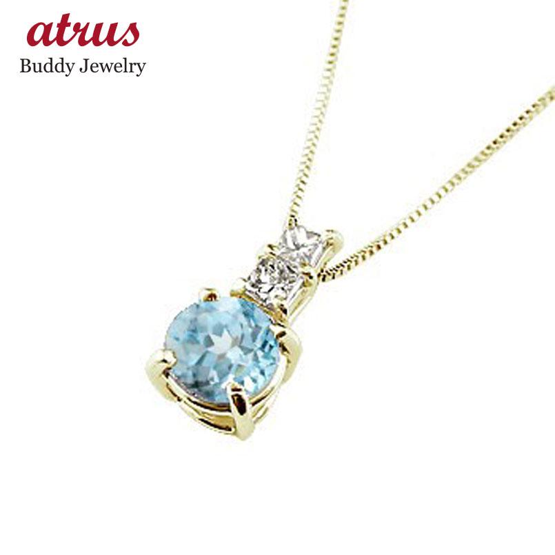 ネックレス ブルートパーズ ペンダント ダイヤモンド イエローゴールドk18 シンプル レディース チェーン 人気 k18 18金 11月誕生石 送料無料 母の日