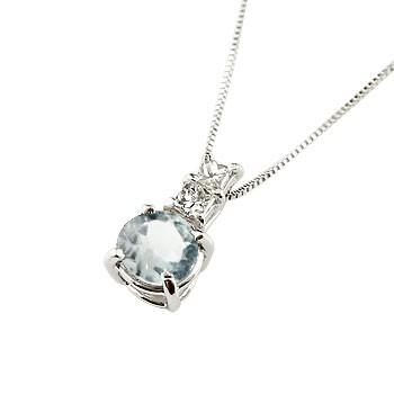 ネックレス アクアマリン ペンダント ダイヤモンド プラチナ900 シンプル レディース チェーン pt900 人気 3月誕生石 送料無料