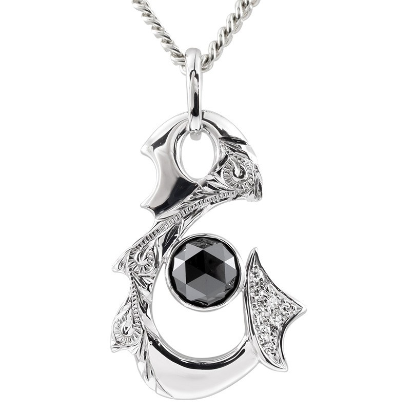 ハワイアンジュエリー ネックレス メンズ 喜平用 ブラックダイヤモンド ダイヤ シルバー フィッシュフック ネックレス ペンダント チェーン 送料無料
