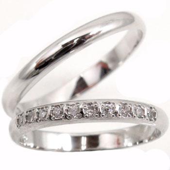 結婚指輪 刻印 プラチナ ペアリング ダイヤモンド マリッジリング ハーフエタニティ 甲丸 結婚式 ダイヤ ストレート カップル 2.3 贈り物 誕生日プレゼント ギフト ファッション パートナー