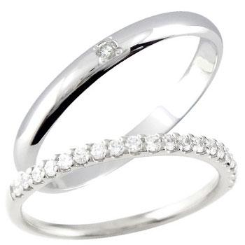 結婚指輪 ペアリング マリッジリング ダイヤモンド ハーフエタニティ 一粒ダイヤモンド ホワイトゴールドk18 結婚式 18金 ダイヤ ストレート カップル 2.3 贈り物 誕生日プレゼント ギフト ファッション