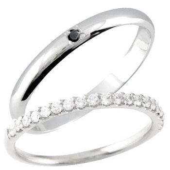 結婚指輪 ペアリング マリッジリング プラチナ ダイヤモンド ブラックダイヤモンド ハーフエタニティ 一粒ダイヤモンド 結婚式 ダイヤ ストレート カップル 2.3 贈り物 誕生日プレゼント ギフト ファッション パートナー 送料無料