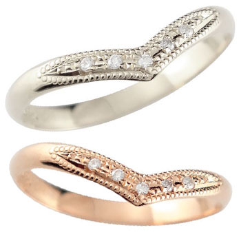 結婚指輪 V字 ペアリング マリッジリング ダイヤモンド プラチナ ピンクゴールドk18 ミル打ち 結婚式 18金 ウェーブリング ダイヤ カップル 2.3 贈り物 誕生日プレゼント ギフト ファッション パートナー 送料無料