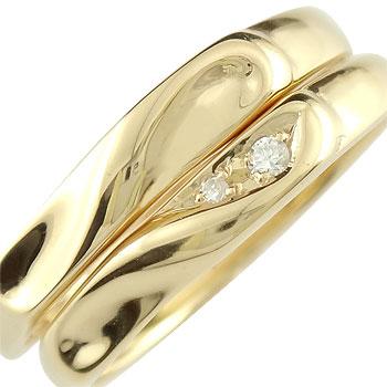 結婚指輪 ペアリング マリッジリング ダイヤモンド ハート イエローゴールドk10 結婚式 10金 ダイヤ ストレート カップル ファッション パートナー 送料無料