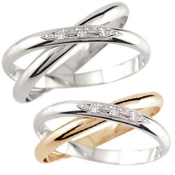 結婚指輪 ペアリング プラチナ 結婚指輪 マリッジリング ダイヤモンド 2連 ピンクゴールドk18 結婚式 18金 ダイヤ ストレート カップル 2.3 送料無料