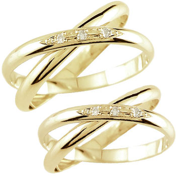 ペアリング 結婚指輪 マリッジリング ダイヤモンド 2連 イエローゴールドk18 結婚式 18金 ダイヤ ストレート カップル 2.3 プレゼント 女性 送料無料