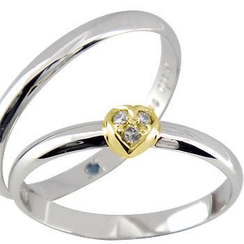 結婚指輪 【送料無料】ペアリング ハート ダイヤ ダイヤモンド プラチナ イエローゴールドk18 マリッジリング ハンドメイド 結婚式 コンビ 18金 ストレート カップル 2.3 贈り物 誕生日プレゼント ギフト ファッション パートナー