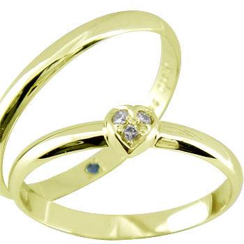 結婚指輪 【送料無料】ペアリング 人気 ハート ダイヤ ダイヤモンド イエローゴールドk18 マリッジリング ハンドメイド 結婚式 18金 ストレート カップル 2.3 贈り物 誕生日プレゼント ギフト ファッション パートナー