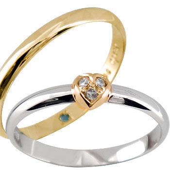 結婚指輪 【送料無料】ペアリング 人気 ハート ダイヤ ダイヤモンド プラチナ ピンクゴールドk18 マリッジリング ハンドメイド 結婚式 コンビ 18金 ストレート カップル 2.3 贈り物 誕生日プレゼント ギフト ファッション