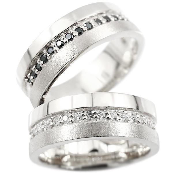 ペアリング プラチナ ダイヤモンド ブラックダイヤモンド 指輪 幅広 つや消し pt900 ダイヤ 結婚指輪 マリッジリング リング カップル 送料無料