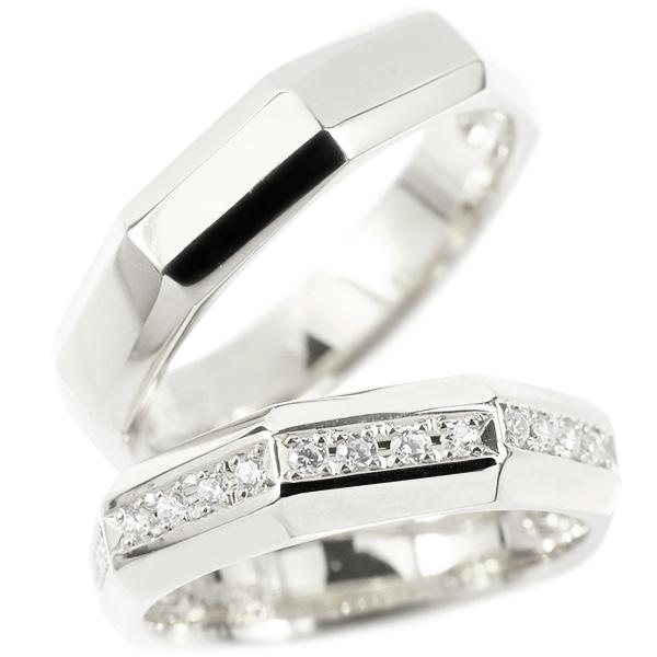メンズ ペアリング 結婚指輪 ホワイトゴールドk10 ダイヤモンド 指輪 10金 ダイヤ シンプル マリッジリング リング カップル 2本セット 宝石 送料無料