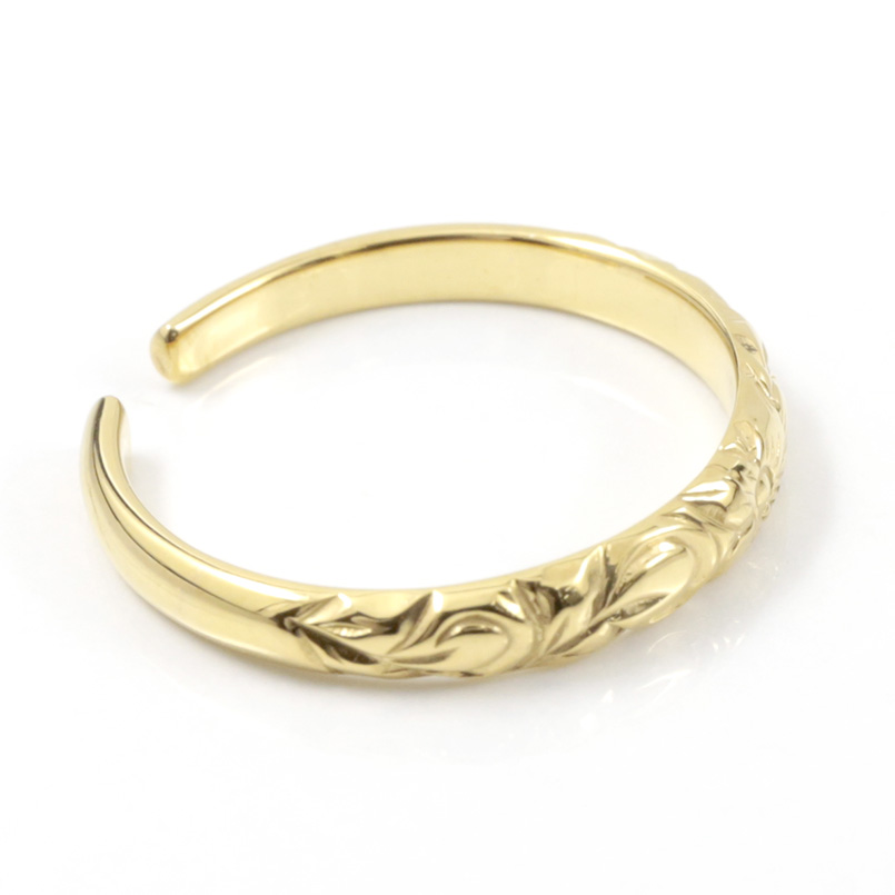 ハワイアンジュエリー ペア トゥリング 結婚指輪 ホワイトゴールドk10 イエローゴールドk10 フリーサイズ ハワイアンリング 足の指輪 地金 10金 2本セット8ONm0vwn