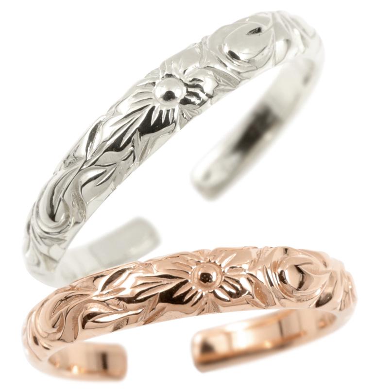 ハワイアンジュエリー ペア トゥリング 結婚指輪 ホワイトゴールドk18 ピンクゴールドk18 フリーサイズ ハワイアンリング 足の指輪 18金 カップル 2本セット