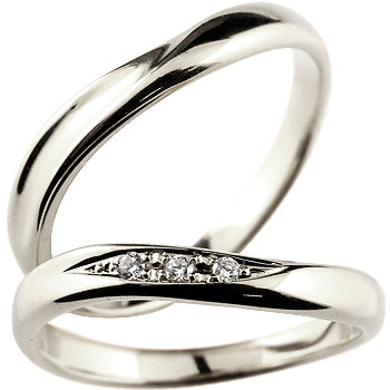 結婚指輪 【送料無料】 ペアリング マリッジリング ダイヤ ダイヤモンド ホワイトゴールドk18 結婚式 18金 カップル ブライダルジュエリー ウエディング ペア ブライダル シンプル 人気 ペア シンプル 2本セット 結婚記念日 パートナー