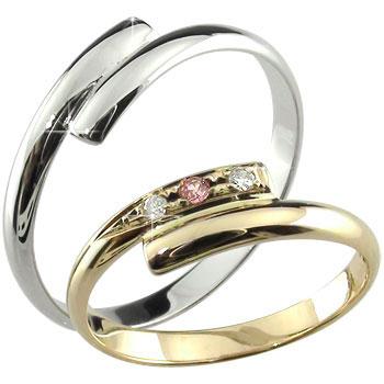 結婚指輪 ペアリング 甲丸 マリッジリングダイヤモンド ピンクサファイア ホワイトゴールドk10 イエローゴールドk10 10金 ダイヤ ストレート カップル 2.3