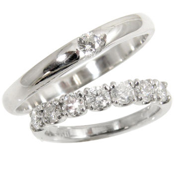 結婚指輪 ペアリング マリッジリング プラチナリング2本セット ダイヤ ダイヤモンドリング ソリティア エタニティリング 結婚式 ストレート カップル 贈り物 誕生日プレゼント ギフト ファッション パートナー