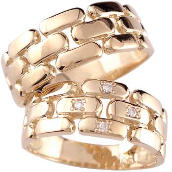 結婚指輪 ペアリング ダイヤ ダイヤモンド 4石ピンクゴールドk18 マリッジリング k18 結婚式 18金 ストレート カップル 贈り物 誕生日プレゼント ギフト ファッション パートナー