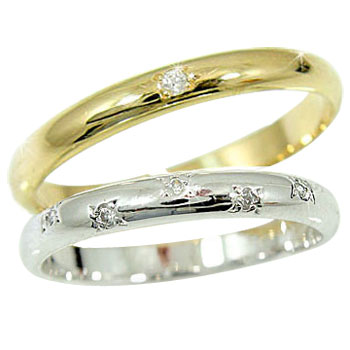 結婚指輪 【送料無料】 マリッジリング ペアリング ホワイトゴールドk18イエローゴールドk18 ダイヤ ダイヤモンド 指輪 結婚式 18金 ダイヤ ストレート カップル 2.3 贈り物 誕生日プレゼント ギフト ファッション パートナー