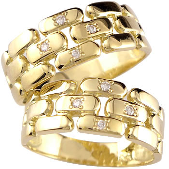 結婚指輪 ペアリング ダイヤモンド マリッジリング イエローゴールドk18 幅広 結婚式 18金 ダイヤ ストレート カップル ブライダルジュエリー ウエディング 贈り物 誕生日プレゼント ギフト ファッション パートナー